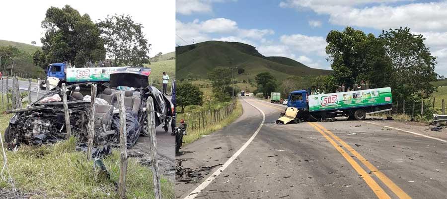 Acidente entre carro e caminhão deixa criança e mais duas pessoas mortas na BR-316