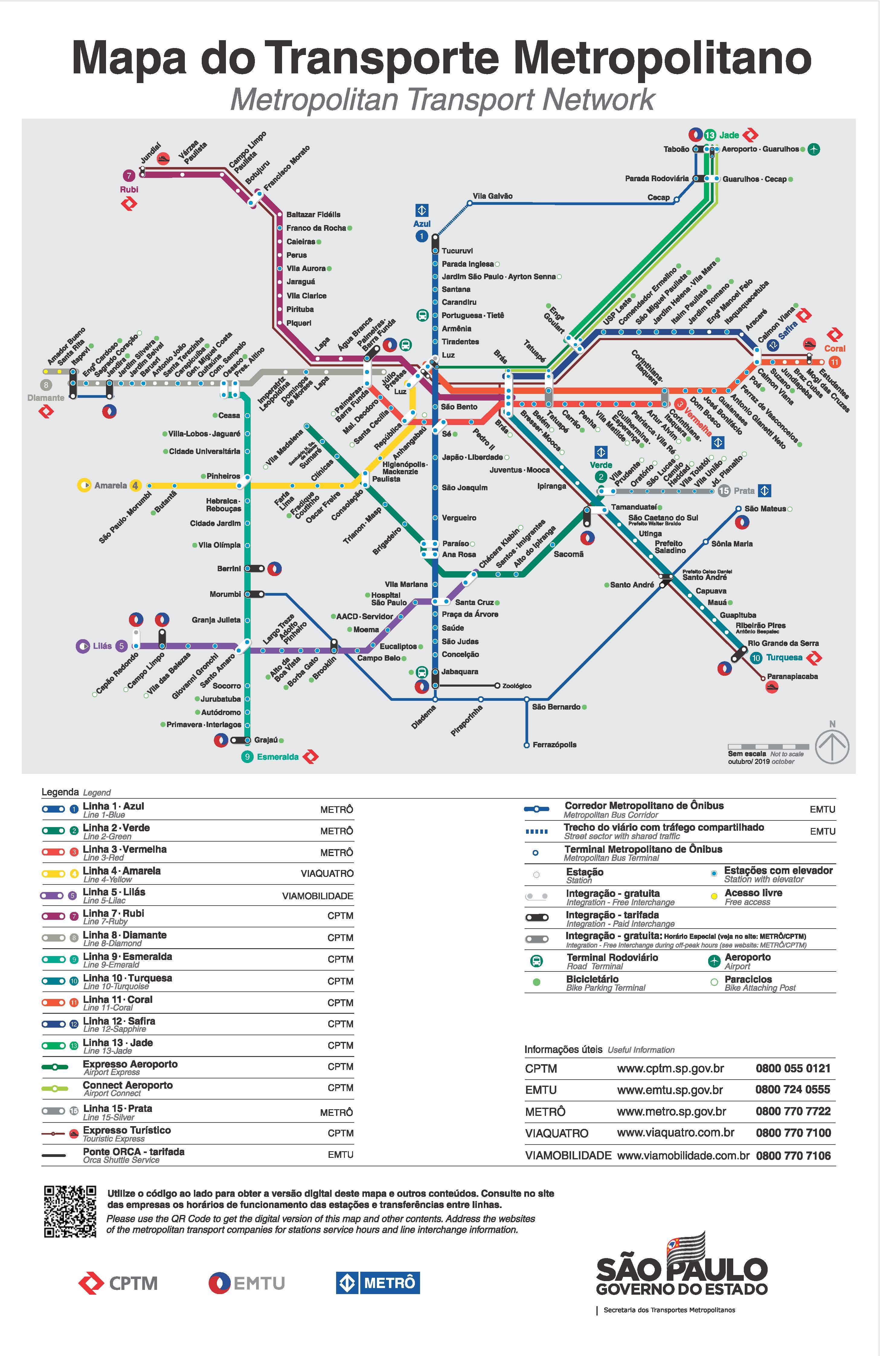 Mapa atualizado que foi divulgado ontem. Foto: Reprodução site CPTM