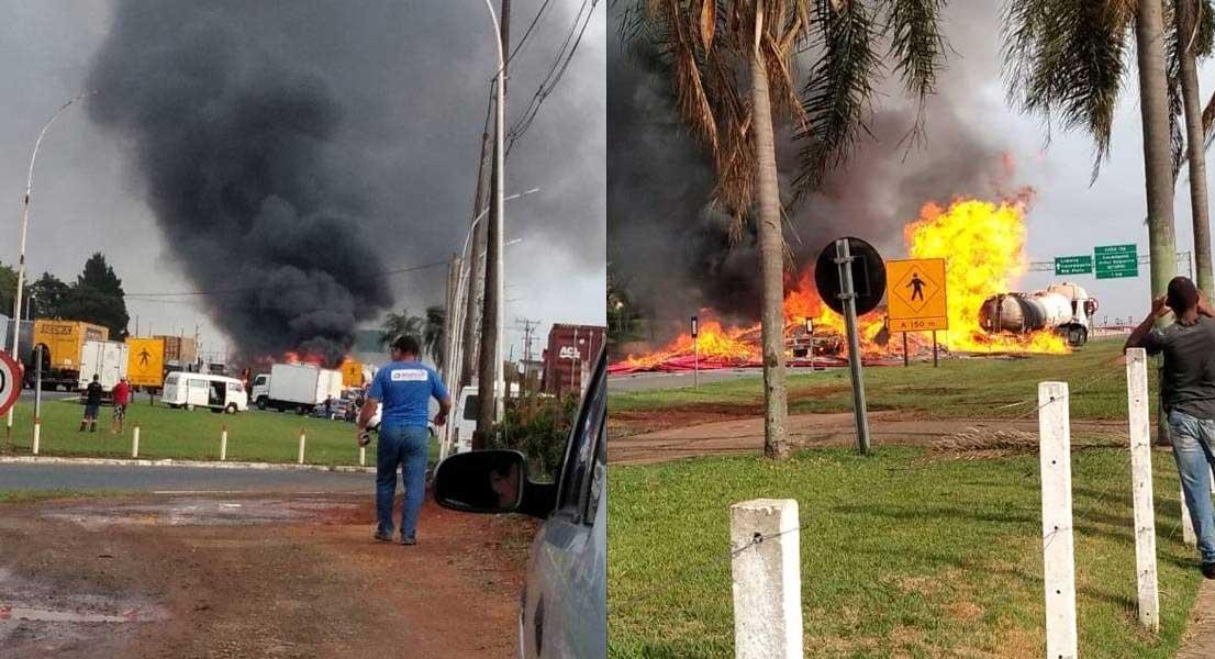 Incêndio após colisão de carretas bloqueia pistas da Anhanguera em Limeira