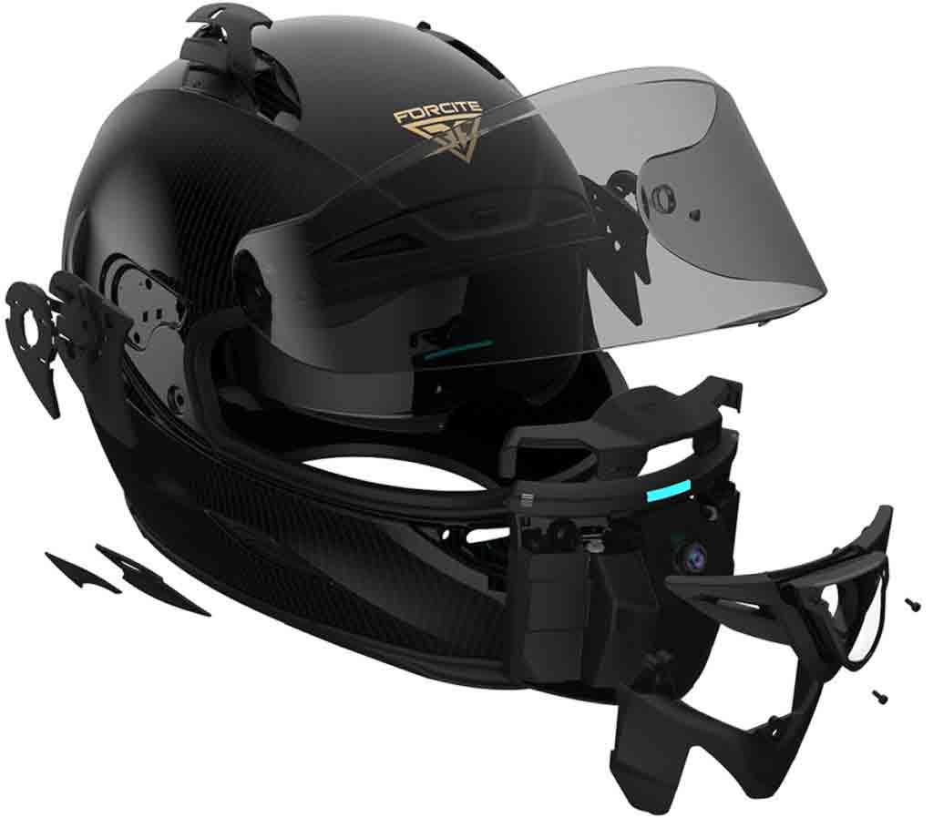 Forcite MK1, um capacete inteligente de R$ 8,4 mil que ajuda a detectar radares de velocidade . Foto: Divulgação