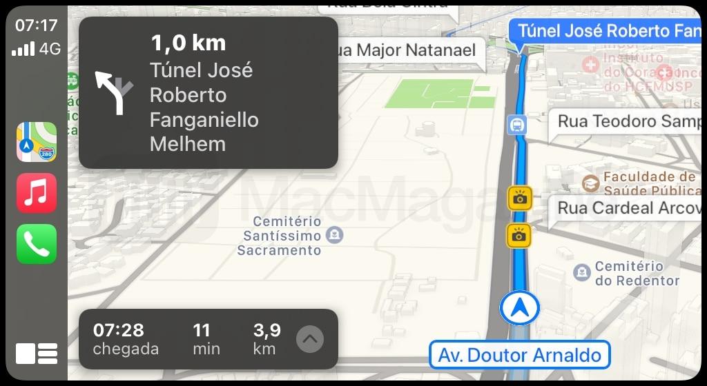 Apple Maps começa a mostrar radares de velocidade no Brasil. Foto: Reprodução